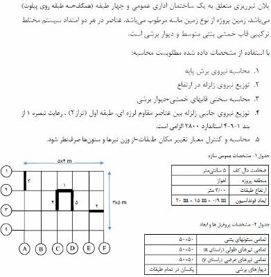 یک تمرین از مهندسی زلزله (محاسبات دستی)
