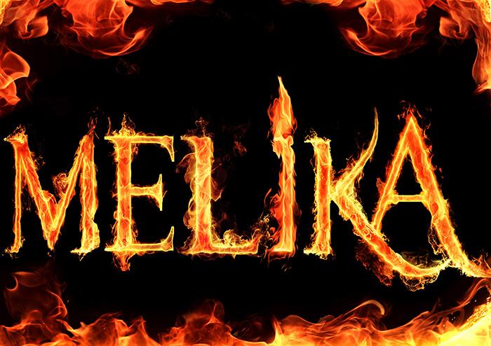 اسم ملیکا طرح آتشین