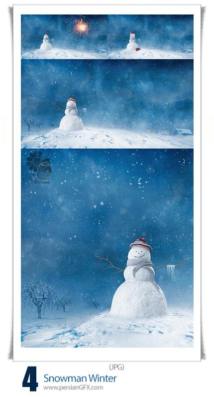 دانلود تصاویر با کیفیت آدم برفی زمستانی
