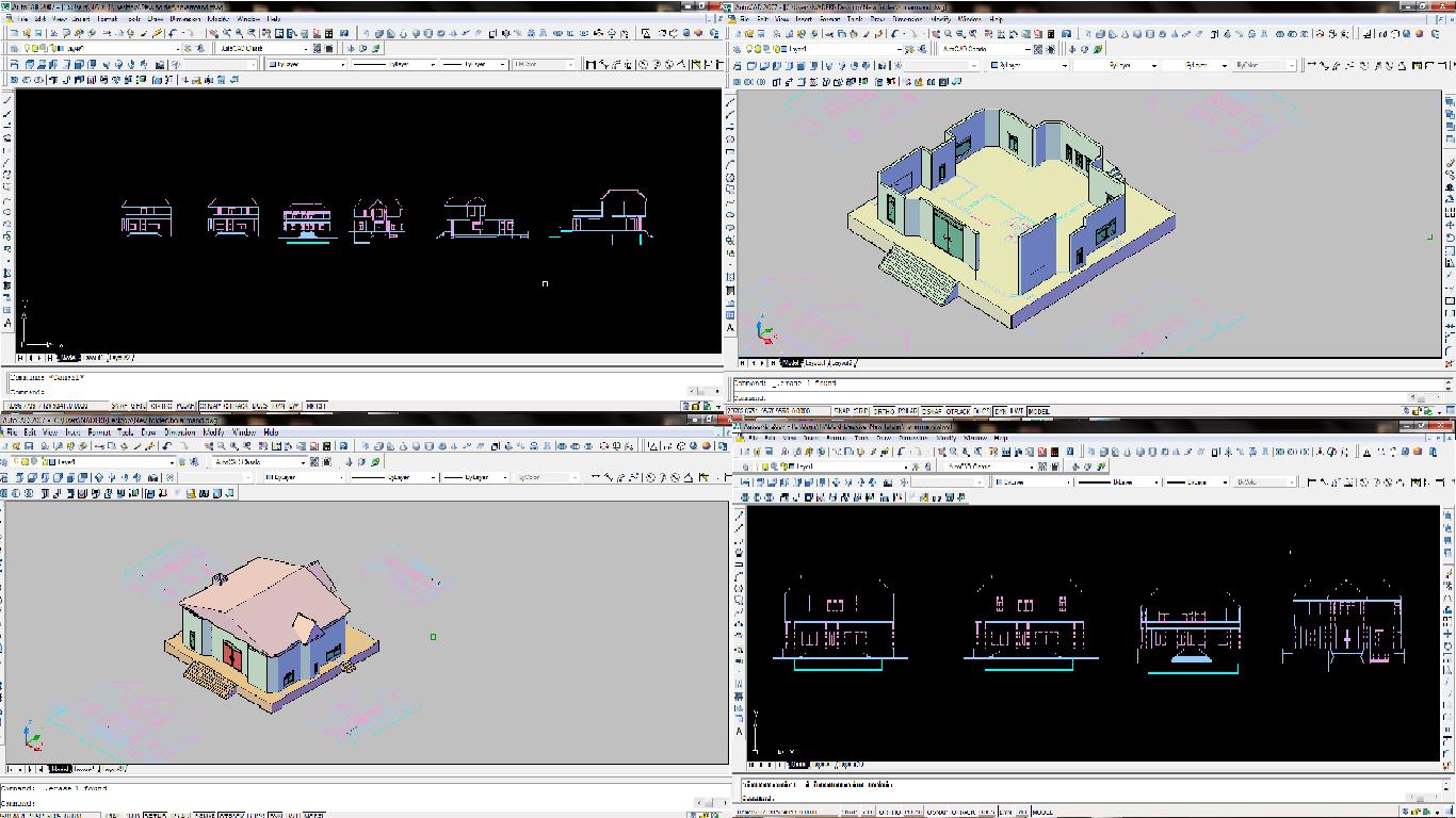 دانلود فایل معماری ویلایی سه بعدی با Autocad