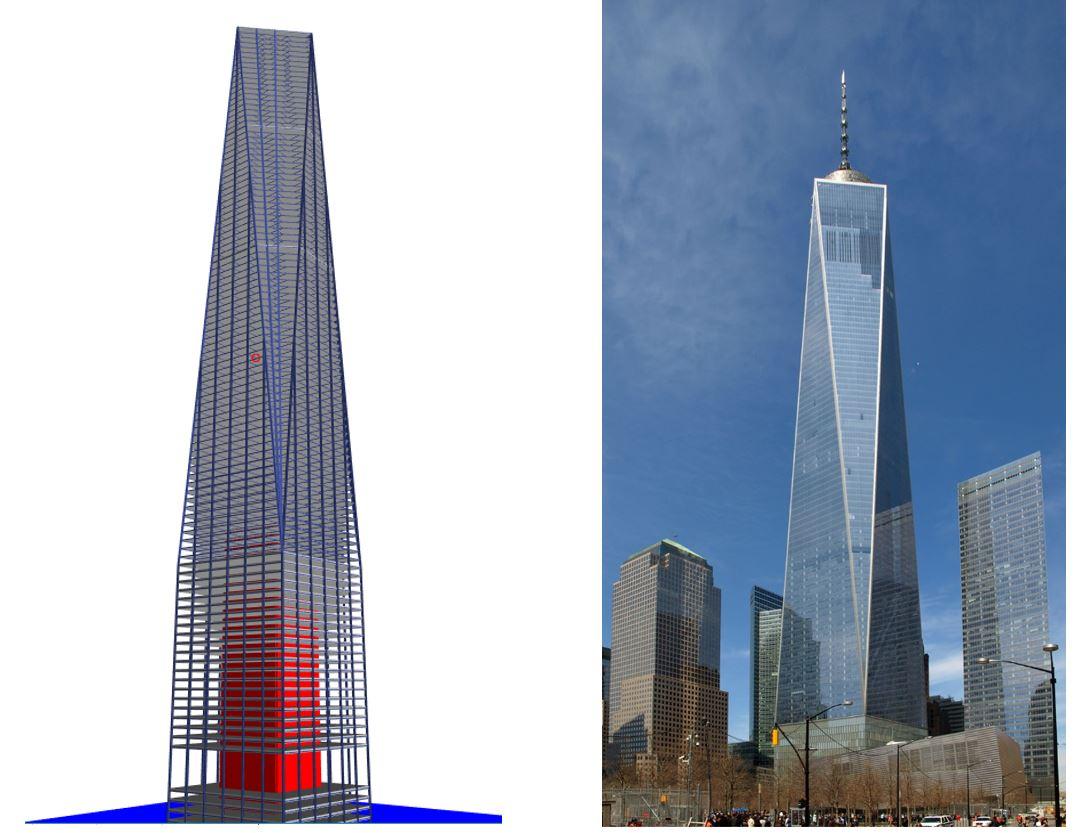 نمونه عددی مدل سازی شده در نرم افزار از برج تجارت جهانی اول One world trade centre model in etabs